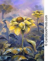 Sun flowers. Painting