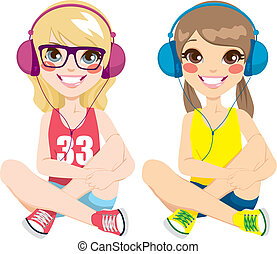 Teenager Girls Listening Music - Two lovely teenager girls...