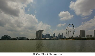 Singapore City Skyline Clouds 1080p