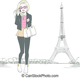 Woman Talking Smartphone Paris - Beautiful full body blonde...