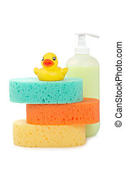 Rubber duck, soap and sponges
