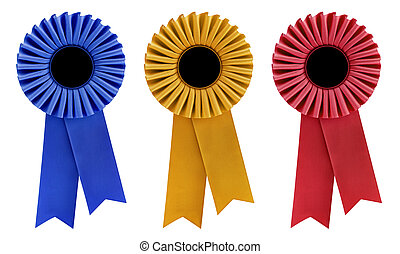 Three Rosettes - Blue, gold and red rosettes, with copy...