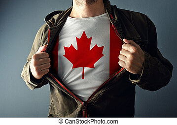 Man stretching jacket to reveal shirt with Canada flag...