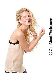 Portrait of a young blond woman laughing