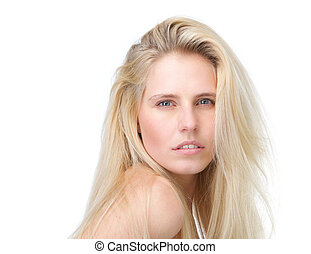 Beauty portrait of a beautiful blond woman - Close up clean...