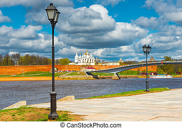 beautiful cityscape. View of the Novgorod Kremlin, Russia