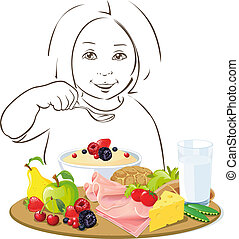 healthy eating child - illustration on white background