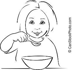 child eating - black outline on white background
