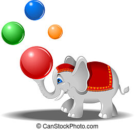 elephant with balls - white elephant juggles colored balls,...