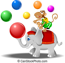 elephant and monkey - circus performers - monkey with balls...