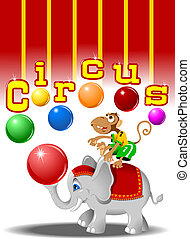 circus elephant - circus performers - monkey with balls and...