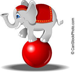 elephant on the ball - white elephant balancing on a red...