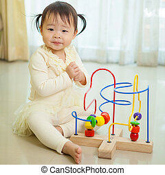 Little asian girl in home - Portrait of little asian girl in...