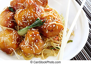 Sesame Chicken - Honey chicken with noodles and vegetables,...