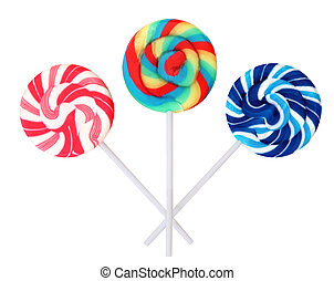 Lollips - Three colourful lollipops, isolated on white.