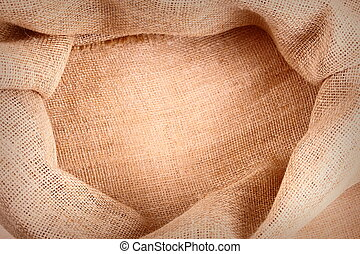Empty gunny sack floor as a background, top view