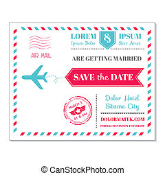 Wedding Invitation Card - Vintage Postcard Airmail Theme -...