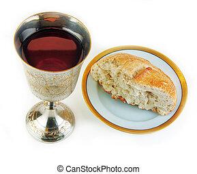 comunhão, pão, vinho, branca, fundo