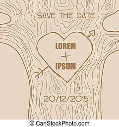 Wedding Invitation Card - Wooden Carved Heart Theme - in vector