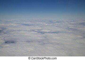 avião,  007, nublado, vista