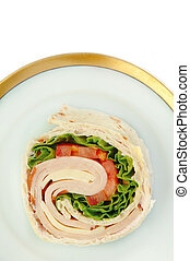 Turkey Wrap - Turkey wrap sandwich with tomato cheese and...