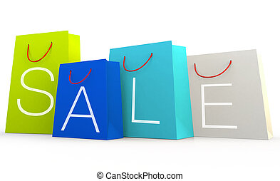 sale shopping bags design on white background