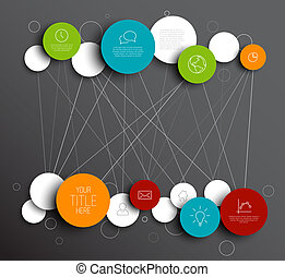 Dark Vector abstract circles infographic network template -...