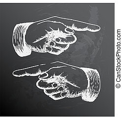Vector retro Vintage pointing hand drawing - Black and white...