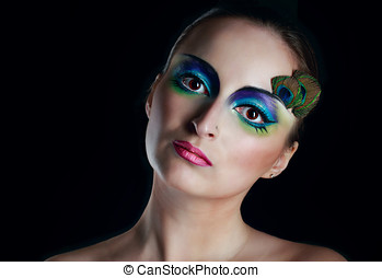 Girl peacock - Attractive young girl with makeup peacock...