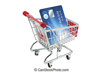 credit crad in a shopping trolley on white background