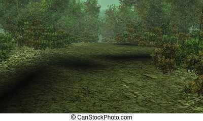Walking in the bamboo forest,3d game animation scene.
