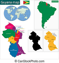 Guyana map - Map of the Co-operative Republic of Guyana with...