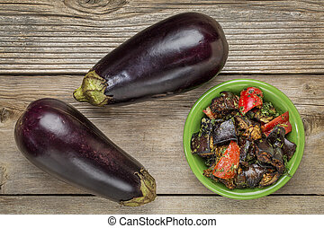 roasted spicy eggplant salad with bell pepper and two fresh...