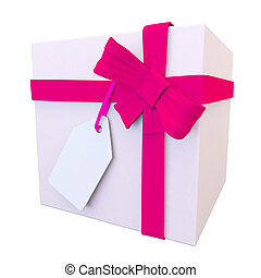 3d view of a pale pink present and bright bow - birthday or...