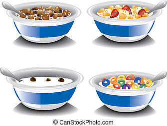 Assorted Cereal - Illustrations of four different bowls of...