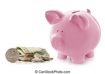 Piggy Bank with Money - Pink piggy bank with US coins and...