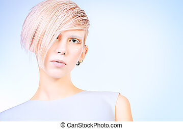 hairstyling - Fashion photo of an extravagant model....