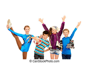 hobbies - Group of children, fond of different sports,...