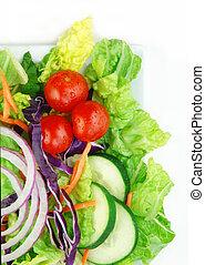 Fresh Garden Salad on White Background - Fresh garden salad...