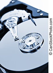 Hard drive detail - Closeup of hard disk drive internal...