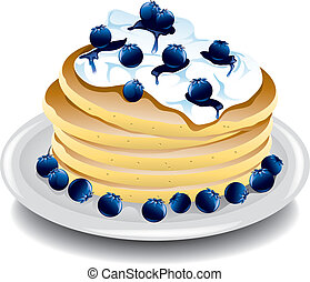 Pancakes with blueberries - Illustration of a stack of...