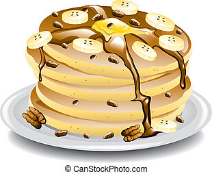Pancakes with bananas. - Illustration of a stack of pancakes...