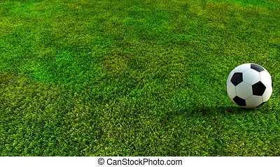Soccer ball rolling on green grass HD 3D animation