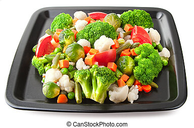 Fresh vegetables on plate2 - Vegetables: cauliflower,...