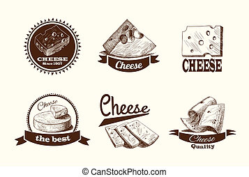 Cheese sketch labels - Cheddar parmesan and smoked cheese...