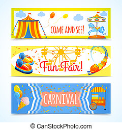 Carnival banners horizontal - Amusement entertainment...