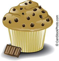Chocolate chip muffin - Illustration of a muffin with...