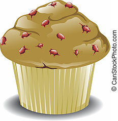 Cranberry muffin - Illustration of a warm cranberry...