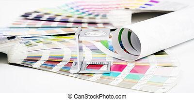 Lens. Prepress concept - Lens and pantone. Design and...