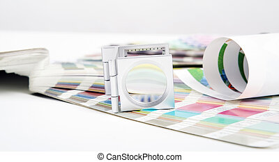 Lens. Prepress concept - Lens and pantone. Design and...